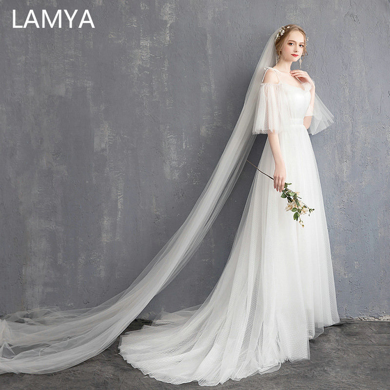 LAMYA Elegant Simple Wedding Dress Customized Boat Neck Bridal Gowns Court Train Wedding Dresses Fashionable Vestido De Noiva