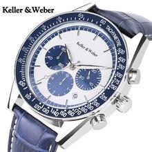 Келлер и Weber оригинальный бренд для мужчин наручные часы Роскошные функция хронограф спортивные пояса из натуральной кожи кварцевые