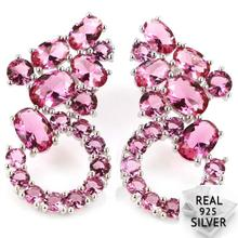 Real 5.6g 925 Solid Sterling Silver Classic Pink Tourmaline CZ Womans Wedding Earrings 30x15mm