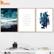 COLORFULBOY Wall Art Canvas Prints Quotes Sea Landscape Nordic Posters And Pictures For Living Room Decoration
