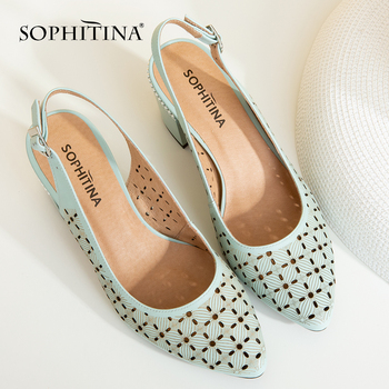 SOPHITINA Women's Sandals Career Sheepskin Solid Buckle Strap Fashion High Square Heel Shoes Handmade Back Strap Sandals SC26