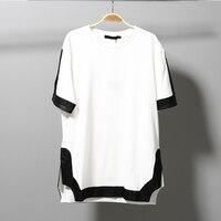 2016 Summer Korean Cool High Quality T Shirt Men White And Black Short Sleeve Split Side
