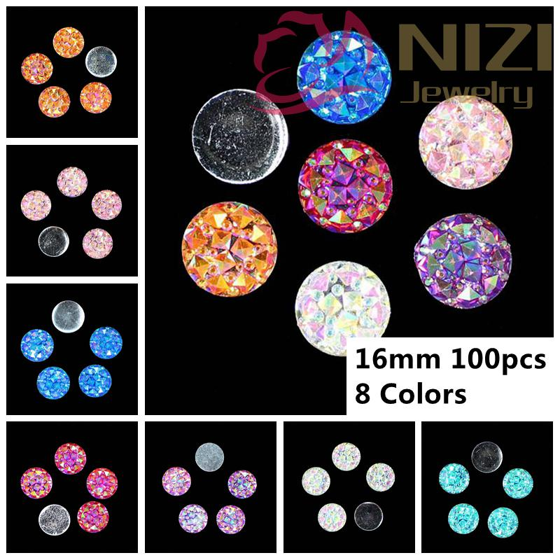 Фото Resin Stone Beads 100pcs 16mm Round Shape Flatback Resin Gems Resin Rhinestones Glue On Diy Accessories High Luster Rhinestones
