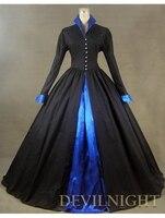 Черный и Синий С Длинными Рукавами Готический Викторианской Платье