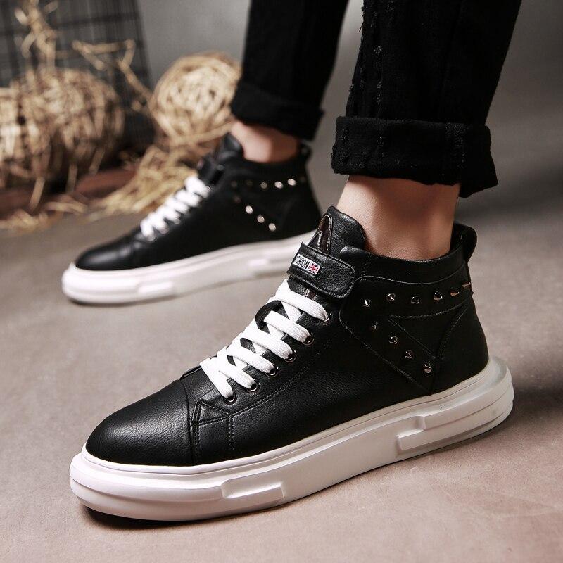 2018 Sapatos white Couro Black De Miubu Nova Homens High Boots Top Outono Chegada Inverno Casuais Ankle Lace up Men Genuine Frente vUpqRd