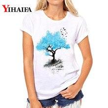 New Women T-shirt Painted Blue Tree 3D Print T Shirt White Tops graphic t shirts harajuku Short Sleeve woman clothes