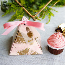 Pyramid Wedding Party Supplies Leaf Candy Box with Thanks Card Gift Box Square Pack Feather Baby