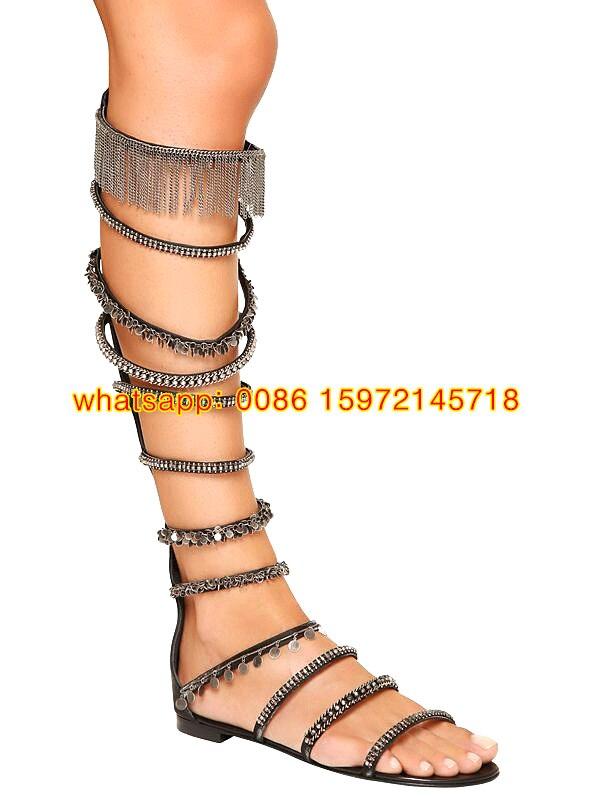 06a0fd613c6b6 Women strappy knee high summer boots flat heel roman sandals beads ...