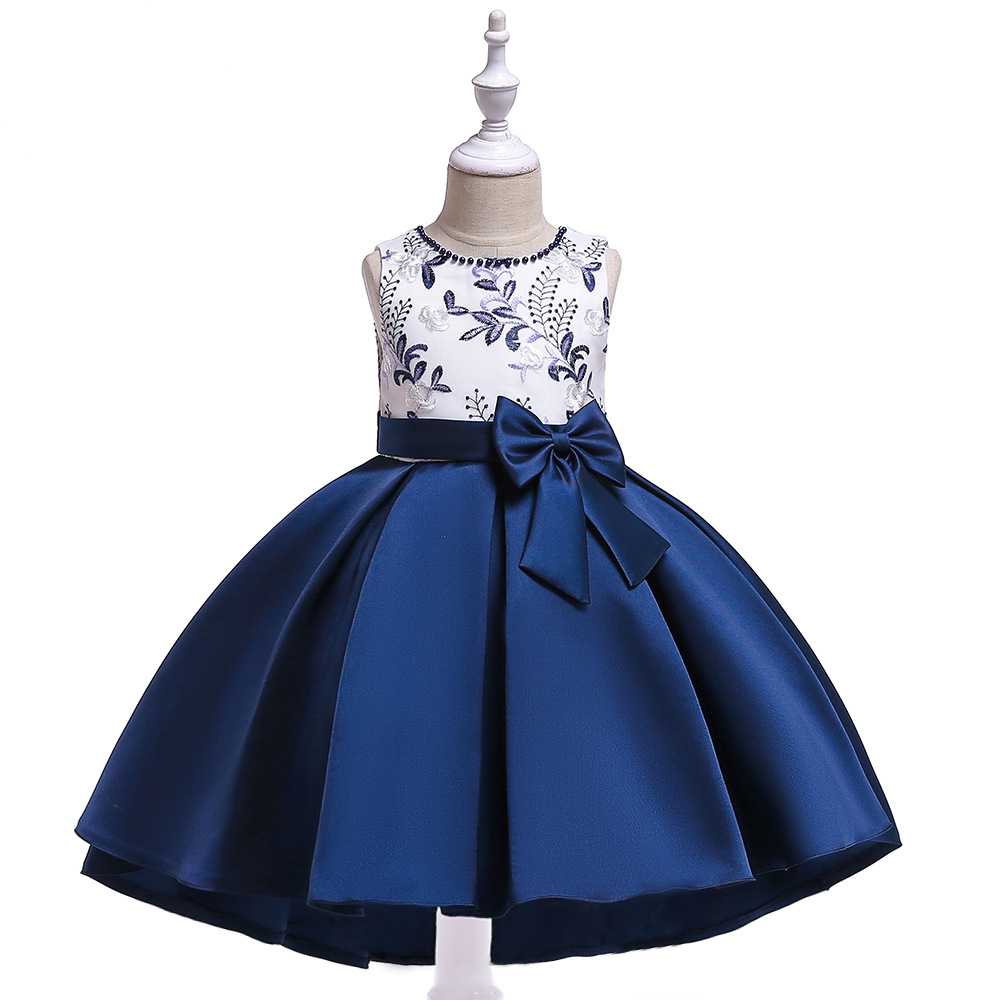 Hot Sale A-Line Royal Blue Satin   Flower     Girl     Dresses   with Bow Tutu   Dresses   Lace   Flower     Girl     Dress   2019