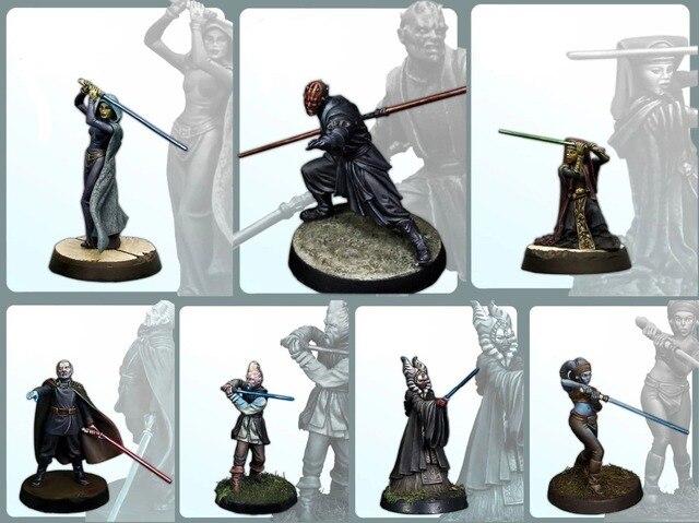 7PSC Классический 30 мм Star Wars Рисунок Коллекция миниатюры Неокрашенная Смола Модель комплект бесплатная доставка