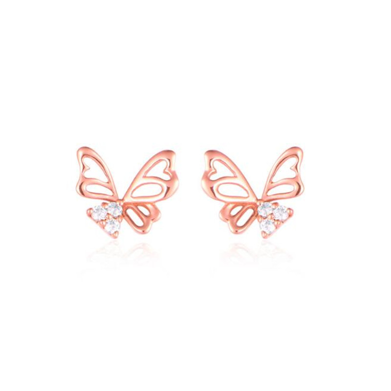 New Fashion Women's Rose Gold Color 18K Gold Jewelry Butterfly Crystal Ear Stud Earrings Shiny CZ Zircon Jewelry Brincos femme yoursfs charms rhinestone rose stud earrings 18k gold plated fashion cz jewelry delicate crystal rose women stud earrings for wom