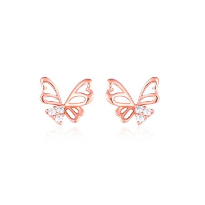 Nouveau mode femmes couleur or Rose 18 K or bijoux papillon cristal oreille boucles d'oreilles brillant CZ Zircon bijoux Brincos femme
