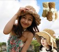 HOT Style freeshipping adult adult and children fashion big bow summer beach folded straw hat mother and daughter set