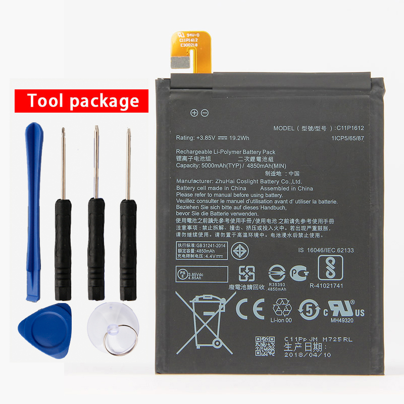 Orginal C11P1612 Phone Battery For ASUS ZE553KL ZenFone 3 Dual Z01HDA SIM LTE Zoom S 5000mAh image