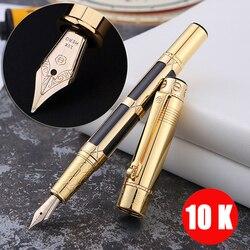 Роскошная перьевая ручка золотого цвета 10 к полностью металлический золотой зажим роскошные ручки для письма бизнес канета канцелярские п...