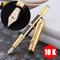 Luxury 10K Gold Fountain Pen Full metal Golden Clip luxury Writing pens Business Caneta Stationery Office school supplies 1015