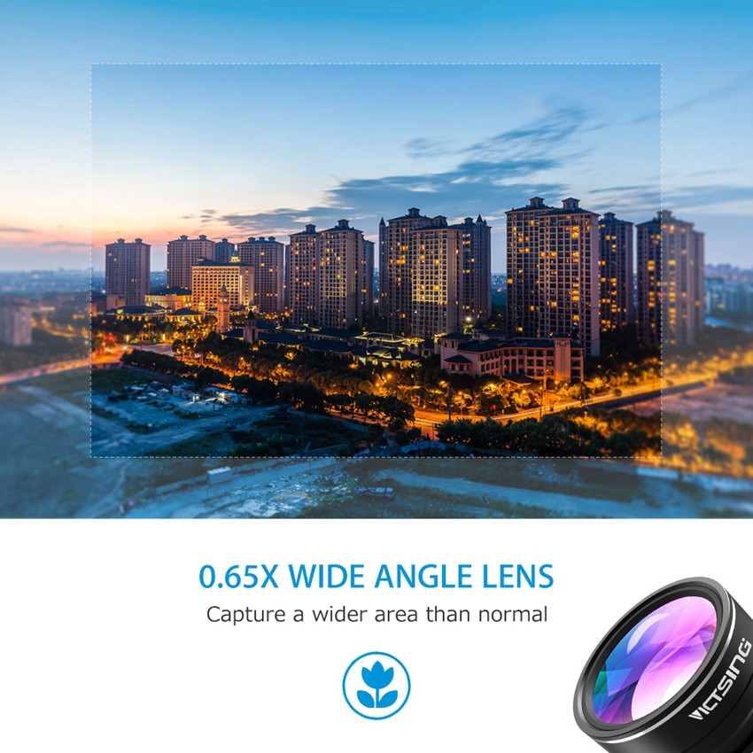 VICTSING 3-in-1 Phone Camera Lens Kit Aluminum Clip-On 180 Degree Fisheye Lens + 0.65X Wide Angle + 10X Macro Lens For iPhone 5