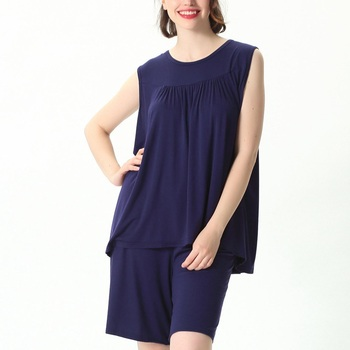 Mferlier Female Nightwear Set Large Size 4XL 5XL 6XL 7XL Ladies Solid Loose Elastic Pink Gray Black Blue Women Pajamas Set 16