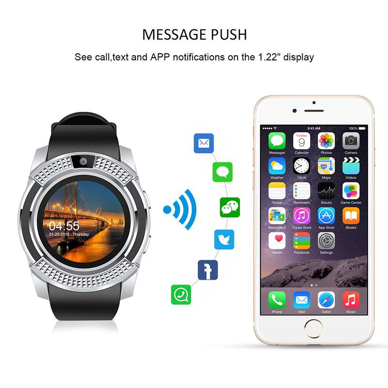 US $9 99 25% OFF|V8 Smart Watch Bluetooth Smartwatch Wrist Watch Camera/SIM  Card Slot Waterproof For Android IOS DZ09 X6 VS M2 A1-in Smart Watches