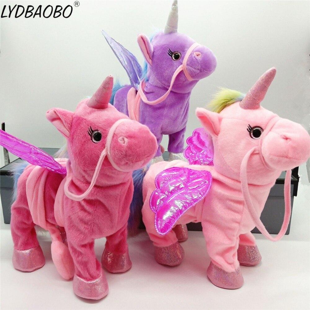 Kawaii caminar juguetes de peluche Unicornio caballo suave peluche muñeca electrónica cantar música Unicornio juguetes niños regalos de navidad
