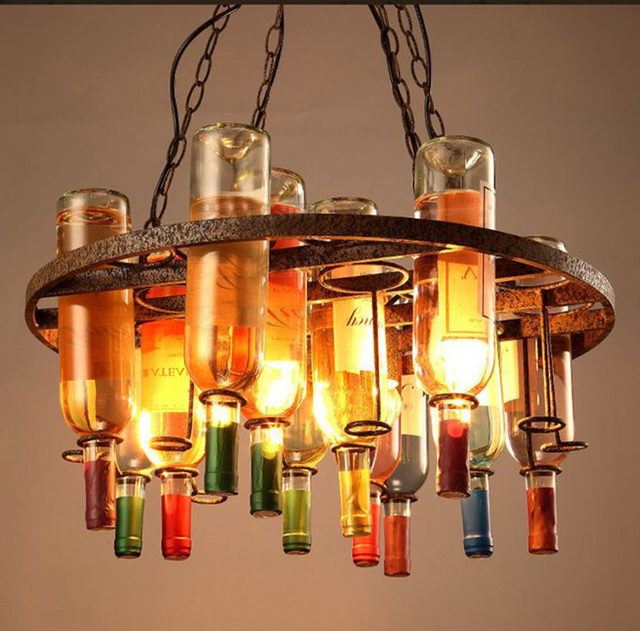 Nordic Wine Bottle Retro Chandelier Lighting 59 35cm Glass