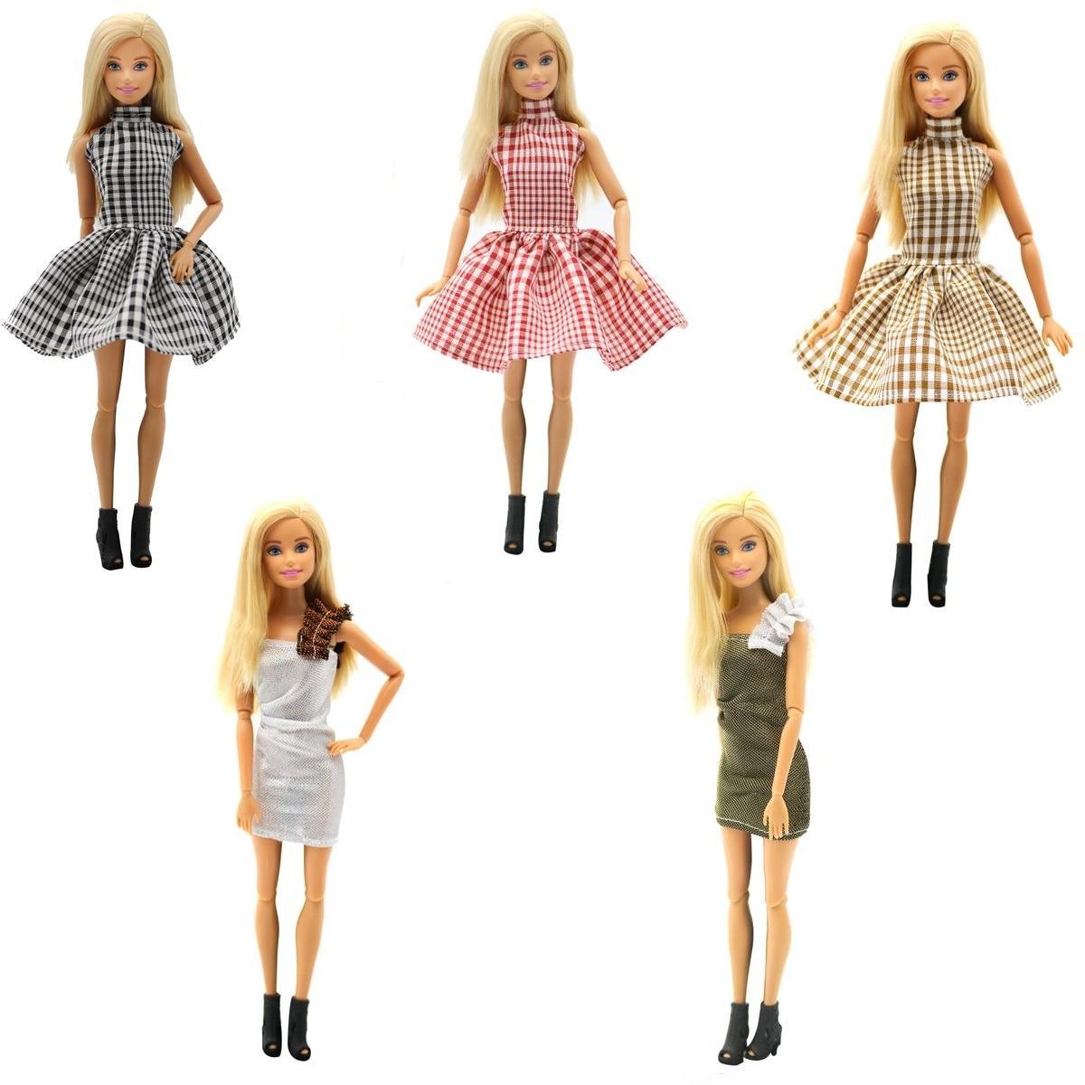 Nueva ropa de moda hecha a mano de 100 piezas para muñeca Barbie vestido bebé niña cumpleaños Año nuevo presente para niños-in Muñecas from Juguetes y pasatiempos    1