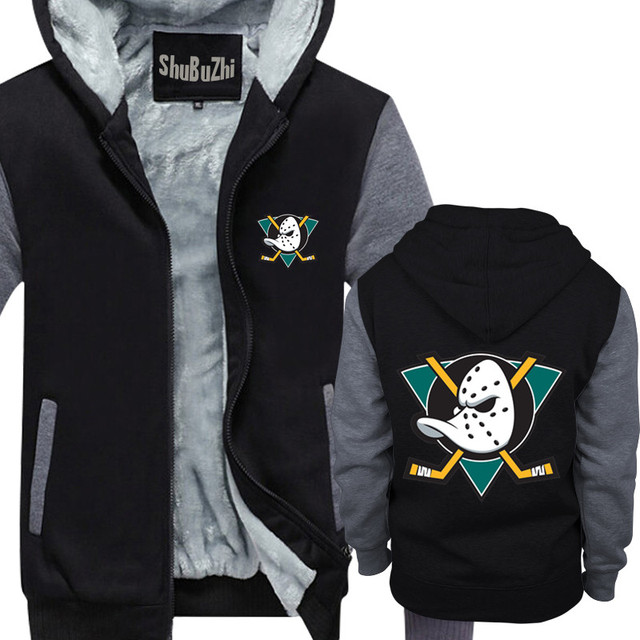 7047fa1fc men Winter Thick Fleece Zipper Coat Mighty Ducks Hoodies - Retro NHL  Inspired League USA Mens Fan Gift hoodie male jacket