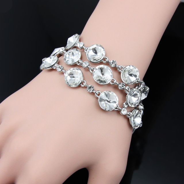 Ocesrio silver chain wedding bracelets for brides wide crystal ocesrio silver chain wedding bracelets for brides wide crystal bracelet bangles female women bracelet fashion jewelry junglespirit Choice Image