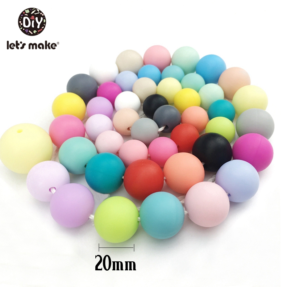 Let's Make Silicone Round Beads 20mm 10pc Teething Accessories Food Grade Silicone Baby Teething DIY Beads Making Bracelets
