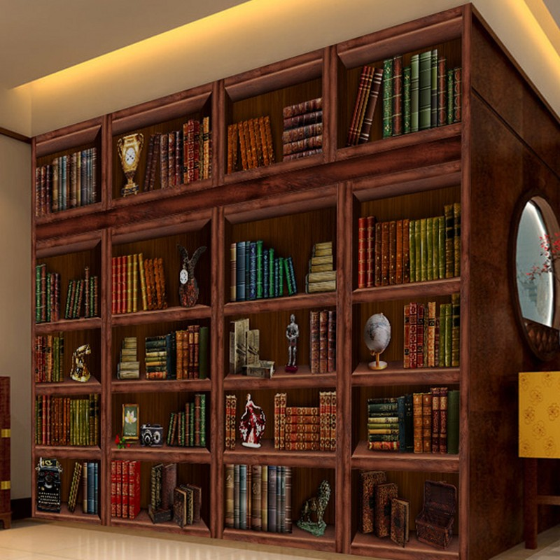 Online get cheap bookshelves living room for Bookcase wallpaper mural