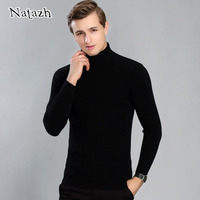 NATAZH Autumn Winter Men S Sweaters Turtleneck Elastic Render Unlined Upper Garment Stretch Sweater Man With