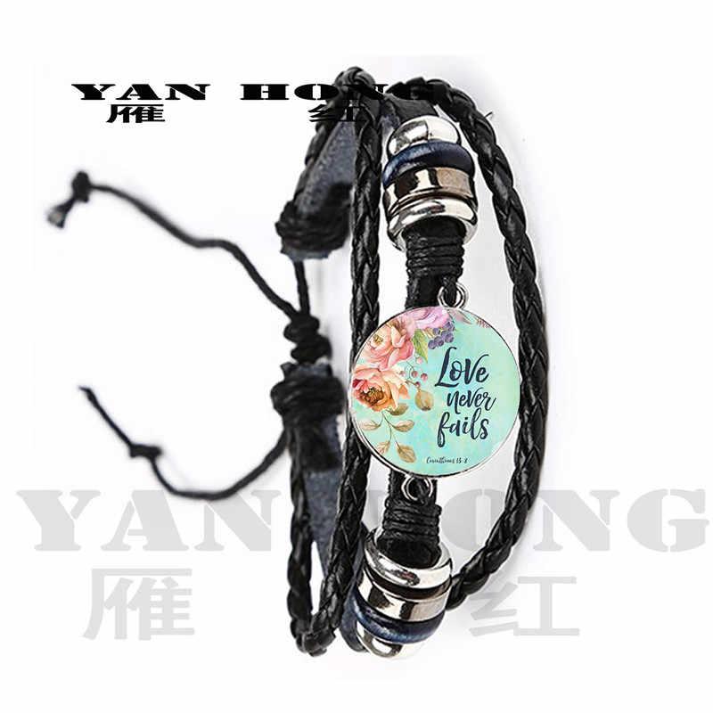 YANHONG2019 الأزياء مزمور سوار صورة فنية طباعة الزجاج قبة سحر سوار الكتاب المقدس الآية إقتباس مجوهرات هدية ل المسيحي