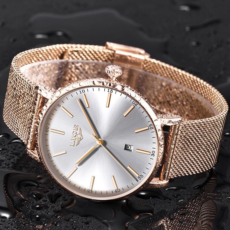 LIGE Women Watches Top Brand Luxury Ladies Wristwatch Ultra thin Watch Stainless Steel Waterproof Quartz Watches Relojes Mujer in Women 39 s Watches from Watches
