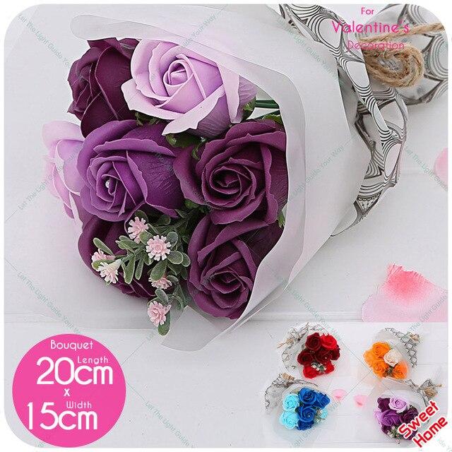 7pcs Bath Soap Rose Flower Bouquet Handmade Korea Style Mothers Day ...