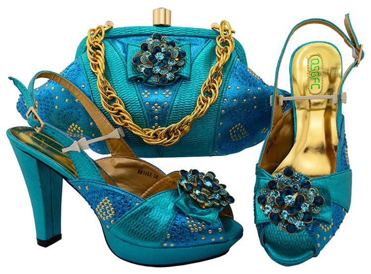 Italian Shoes and Bags To Match Shoes with Bag Set Decorated with Rhinestone Nigerian Women Wedding