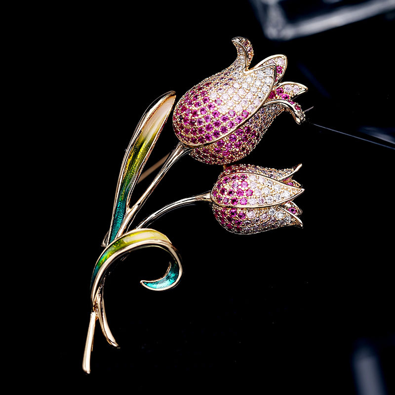 XIHA Mirco Pave CZ Crystal Plant Tulip Pin and Brooch Gold Color Fashion Flower Brooches for Women Dress Christmas Jewellery