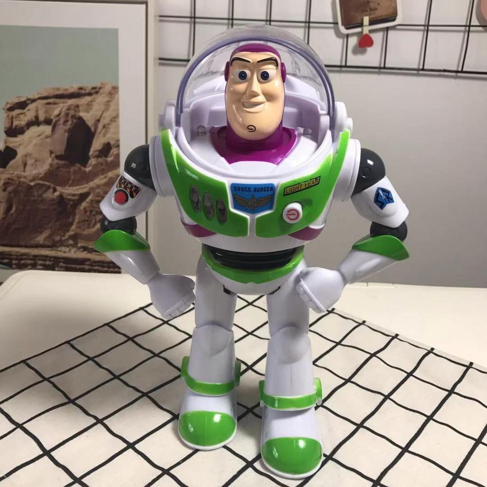 30cm popular anime brinquedo história 4 som eletrônico ação buzz boneca brinquedo plástico asas lightyear pvc figura adorável presente de aniversário