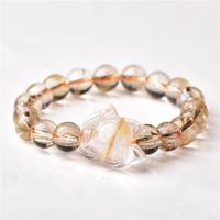 Wholesale Ghost Natural Stone Bracelets Gold Hair Crystal With Fox Energy Stone Hand Row Lucky for Women Men Crystal Jewelry