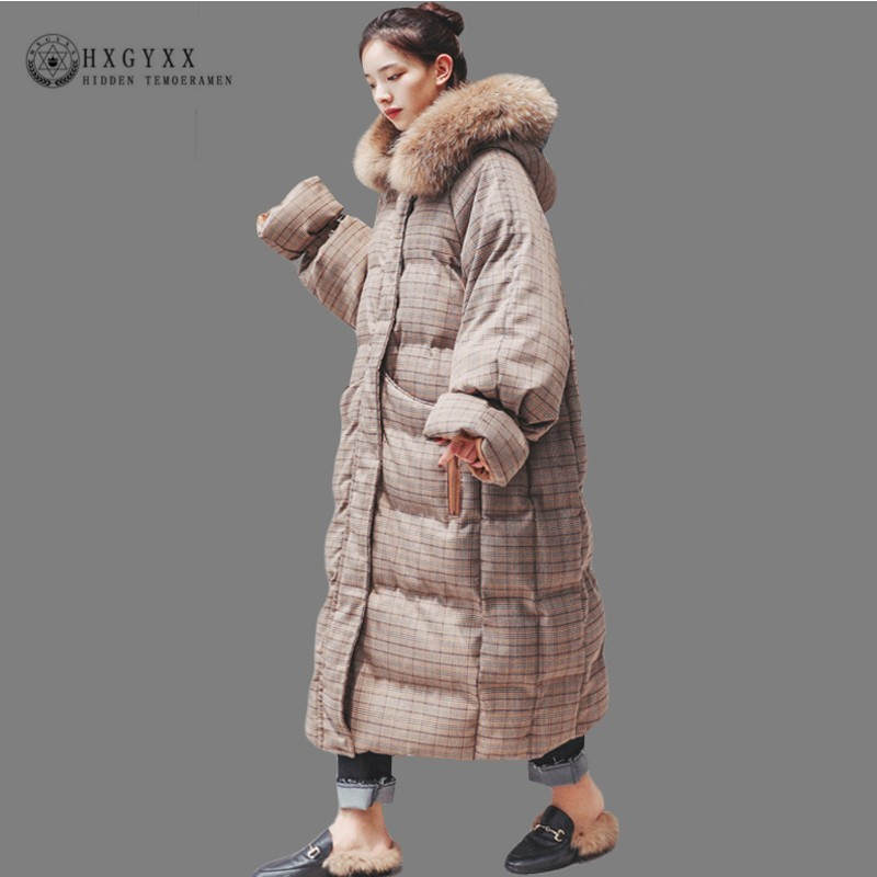 2019 Long Winter Jacket Women Quilted Coat Plus Size Plaid Hooded   Parka   Female Fur Collar Thick Warm Cotton Outwear Korea Okd621