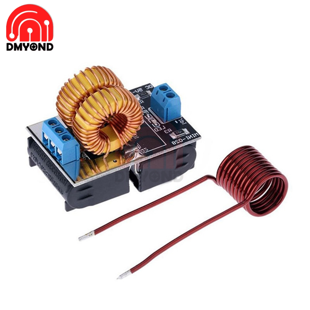 120W DC 5V-12V Mini Low Voltage ZVS Induction Heating Power Module Tesla Jacobs Ladder No Taps With Heating Coil