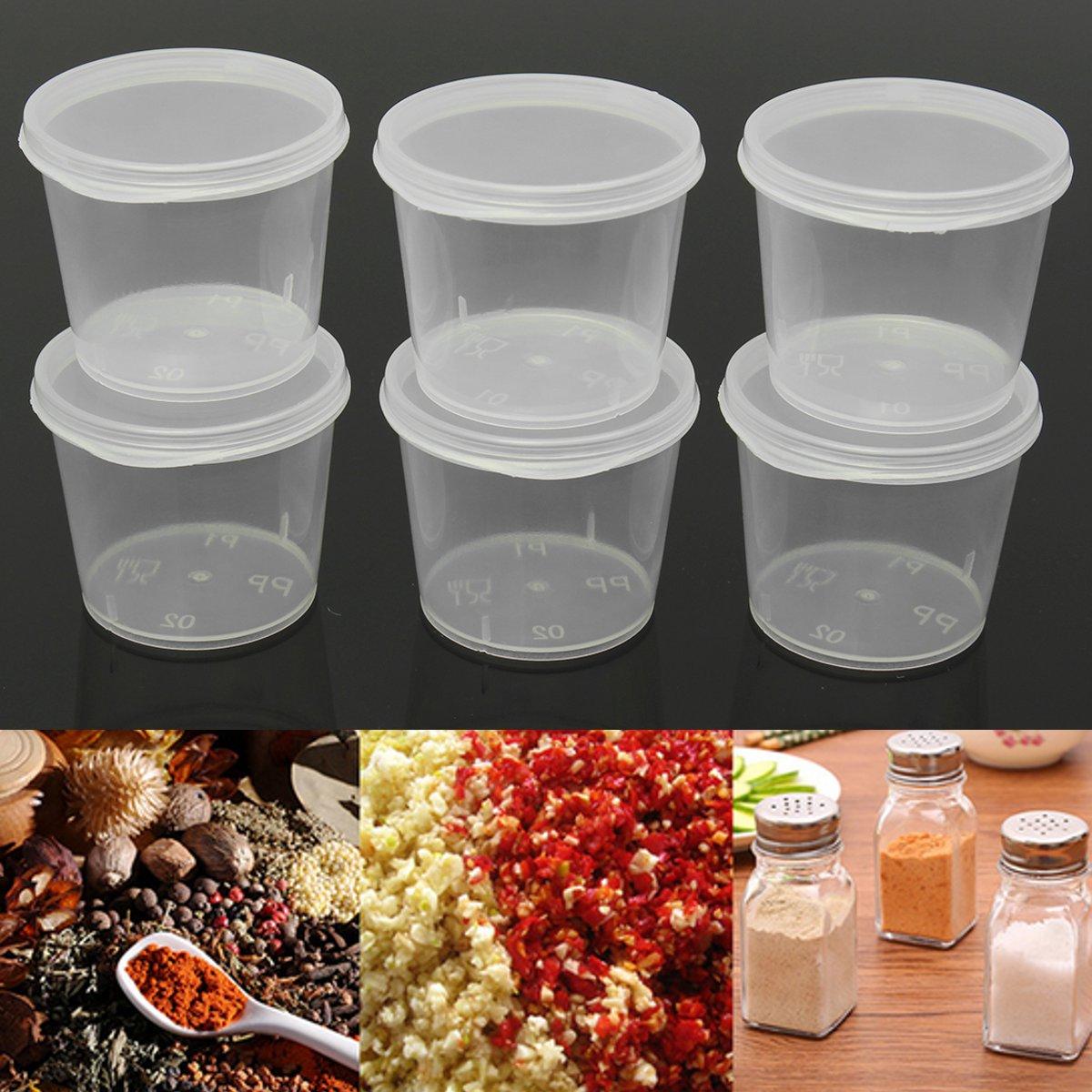 Qualité * 1 oz clair couvercle à charnière Plastique Réutilisable conteneurs Pots Bébé Nourriture Sauce environ 28.35 g