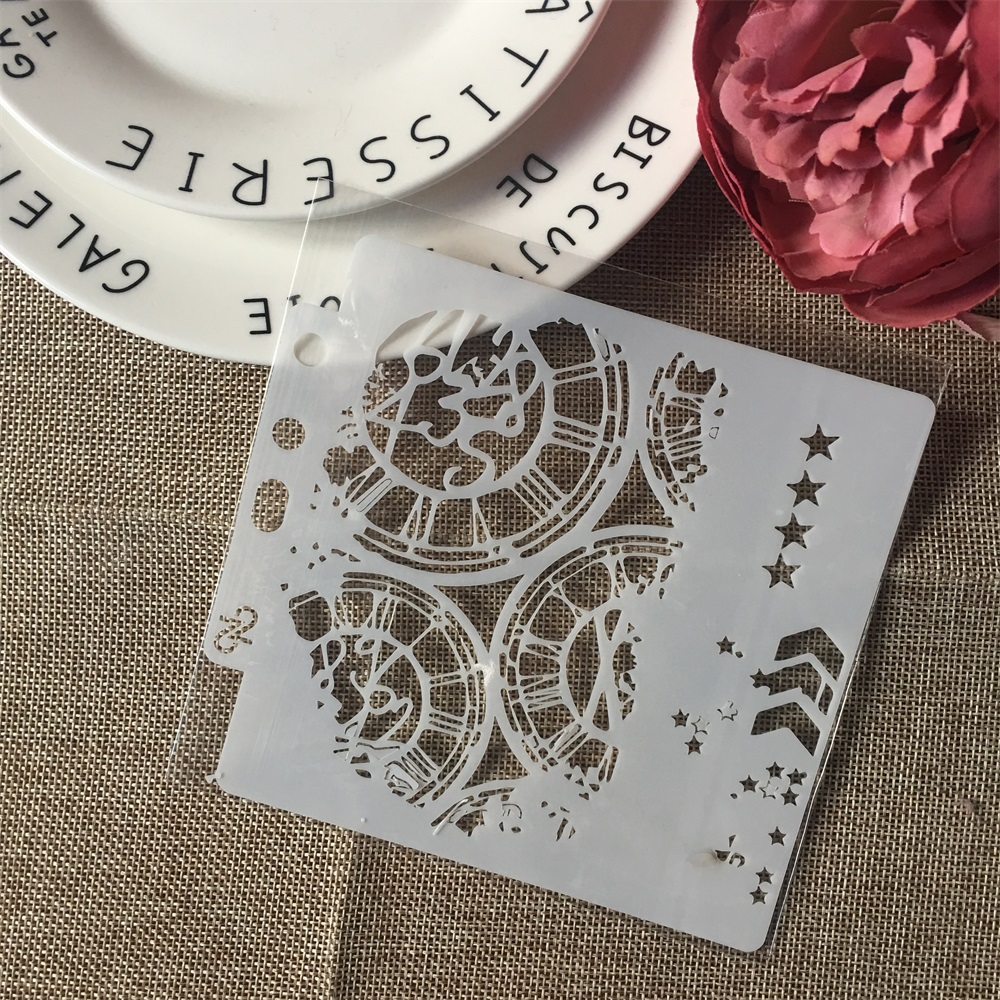 1Pcs 13cm Clock Dial Wheel Arrow Layering Stencils Painting Scrapbook Coloring Embossing Album Decorative Paper Card Template