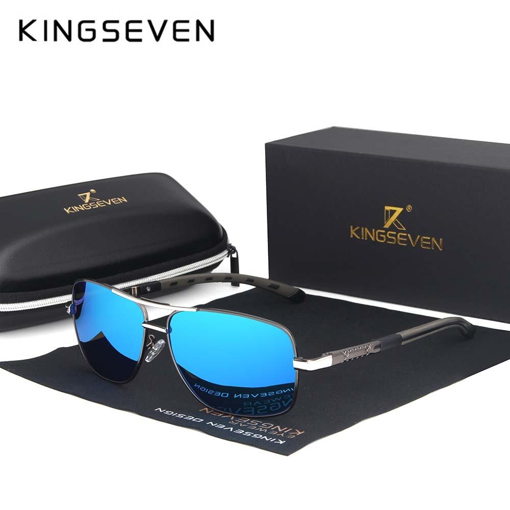 KINGSEVEN 2019 Brand Men Aluminum Sunglasses HD Polarized UV400 Mirror Male Sun Glasses Women For Men Oculos de sol N724 10