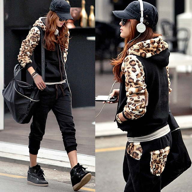 2013 Autumn Winter New Style Patchwork Leopard Hoodies Suit Thickening Female Casual Fleece Sportwear Clothing Set Women