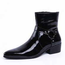 Fashion Men High Top Cow Genuine Leather Handmade Buckle Martin Boots Handmade Winter Mid Calf Boots Shoes JS-A0147 2015 men s winter mid calf casual boots fashion men s boots in genuine leather martin boots keep warm in cold day water proof