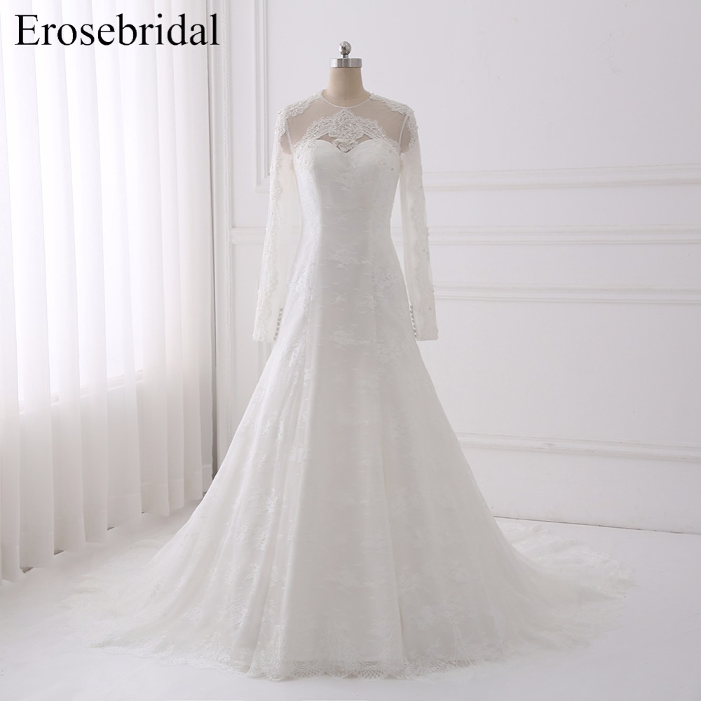 New Illusion Back Wedding Dresses Mermaid Erosebridal 2018 Lace Long Dress Elegant Chapel Train Vestido De Noiva GLT002