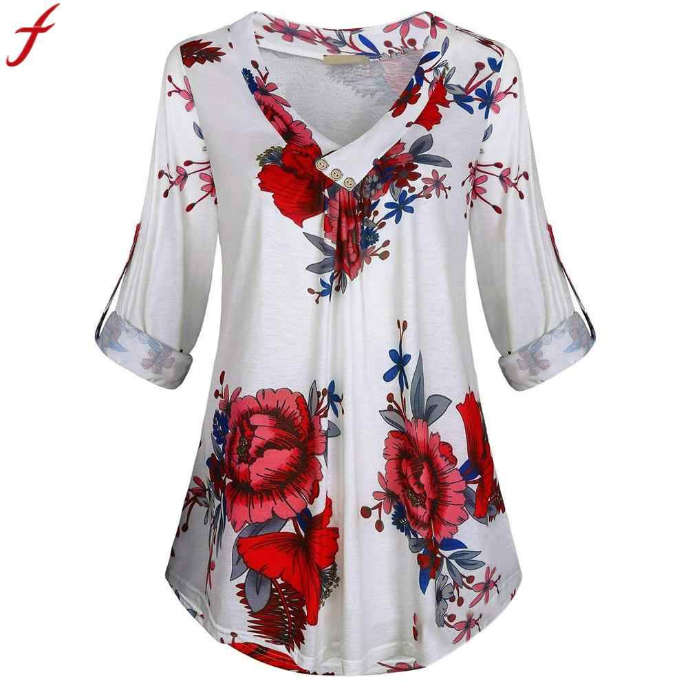 8cc0550b8c3 5XL Plus Size Women Tunic Shirt 2018 Autumn Long Sleeve Floral Print V-neck  Blouses