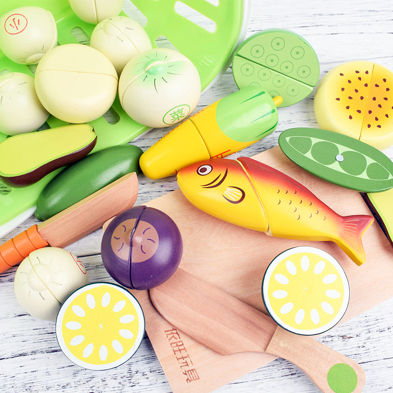 Wooden Magnets Toys Hobbies Pretend Play Cooking Food Miniature Fruits Cutting Vegetable Condimen Educational Gifts For Children