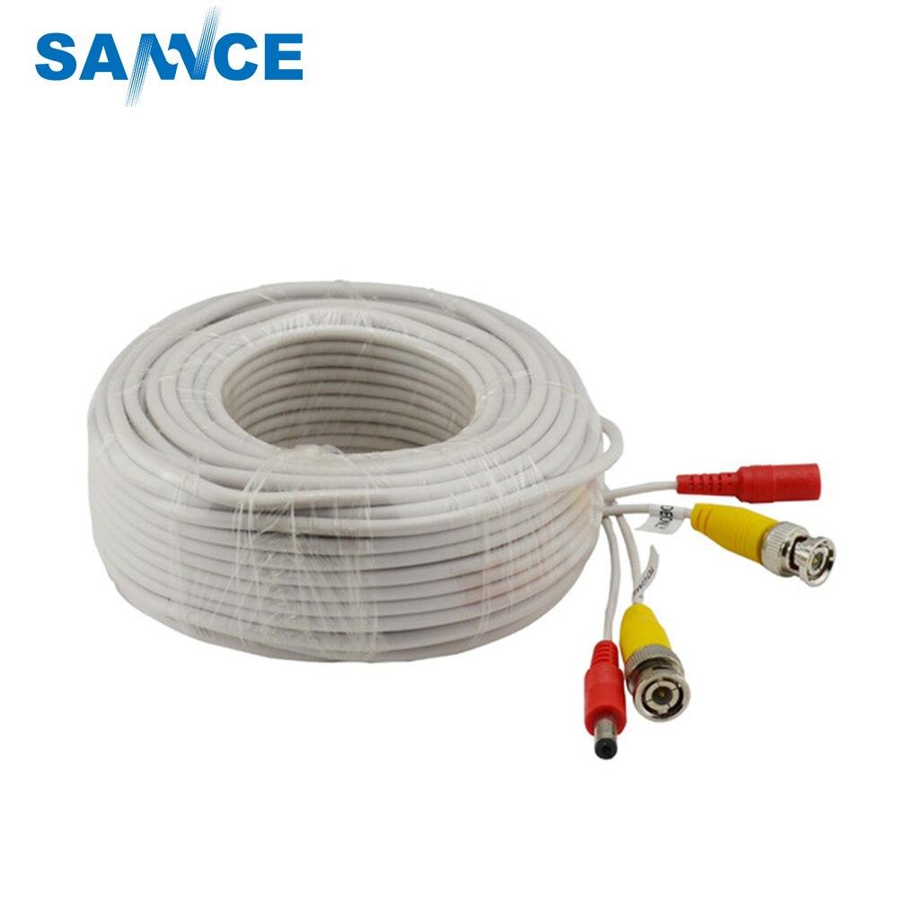 Nueva cámara CCTV BNC accesorios para cable de corriente para vigilancia DVR Kit 30m 100ft blanco negro Cable CCTV con conector BNC