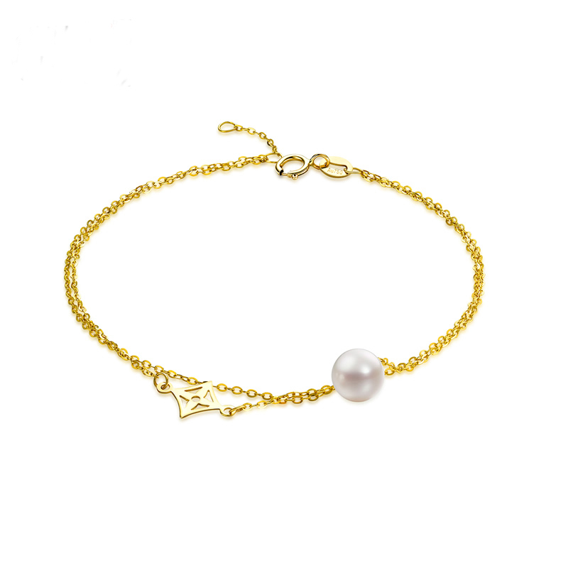 QYI 18K Yellow Gold Natural Cultured Freshwater Pearl Trendy Chain Bracelets Round White Pearl Women Party JewelryQYI 18K Yellow Gold Natural Cultured Freshwater Pearl Trendy Chain Bracelets Round White Pearl Women Party Jewelry